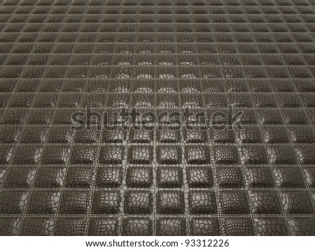 Black Alligator skin with stitched rectangles. Useful as texture or background - stock photo