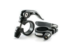 Black alloy quick release seatpost clamp spare parts for bicycle on a white background.