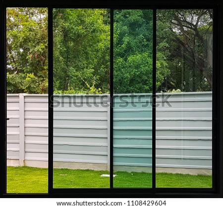 black aluminium window slide door   #1108429604