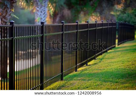 Black Aluminum Fence 3 Rails  Photo stock ©
