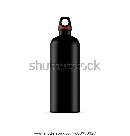 Black Aluminum water sport bike Bottle Mockup isolated on white background, 3d rendering
