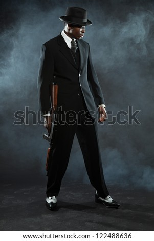 free photos black american mafia gangster man in suit with gun