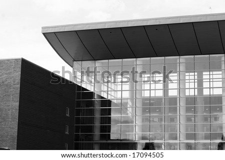 Black & White photo of 2008 enviromentally friendly Business building at the University of Illinois. - stock photo