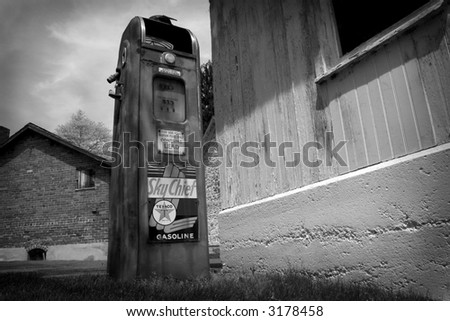 black & white vintage gas pump - stock photo