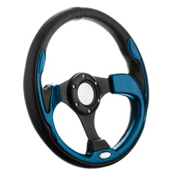 Black and blue steering wheel isolated on withe background.