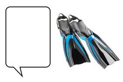 Black and Blue Swimfins Isolated on White. Full Foot Fins. Couple of Swimming Fins. Finlike Accessories. Side View of Flippers Swim Fins. Modern Scuba Gear. Diving Equipment. Water Sports Activities