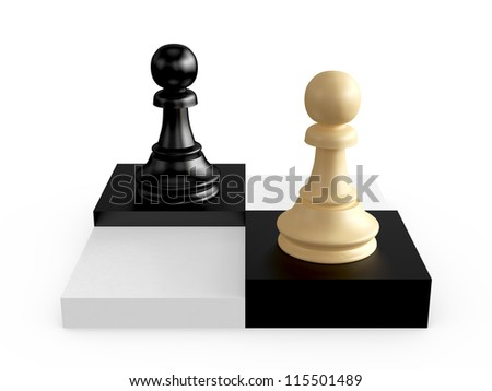 Black and brown pawns on chess board cells, isolated on white background.