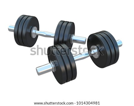 black and chrome weights or dumbbell  isolated on a white background 3d rendering