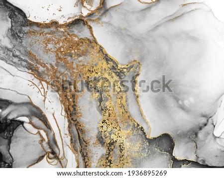 Black and Gold Alcohol Ink. Fantasy Paint. Planet Gouache Print. Smoke Golden splatter. Artwork Painting Gouache paint. Modern Background. Gold Divorces on Black.