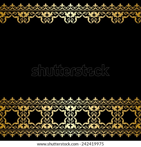 black and gold background with vintage border #242419975