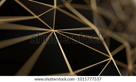 Black and gold concept polygonal background, 3d illustration