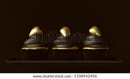 Black and Gold Luxury Strawberry Cakes 3d illustration