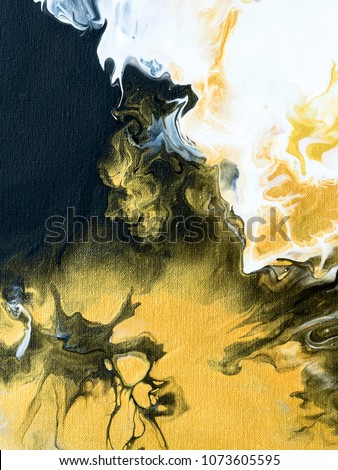 Black and gold marble abstract hand painted background, close-up of acrylic painting on canvas. Contemporary art.