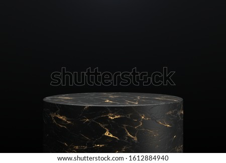 Black and gold marble cylinder shape of product display, Podium, Pedestal, Stand, 3D Rendering.