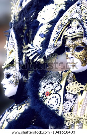 Black and Gold Venetian Masks #1041618403