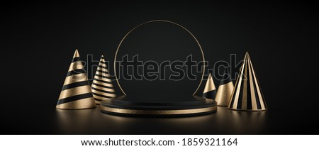 Black And Golden Pedestal / Stage  With Christmas Trees Isolated On The Black Background. Empty Space. Modern Minimal Christmas  Decoration. New Year Concept- 3D Illustration