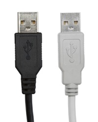 black and gray usb cables isolated on white