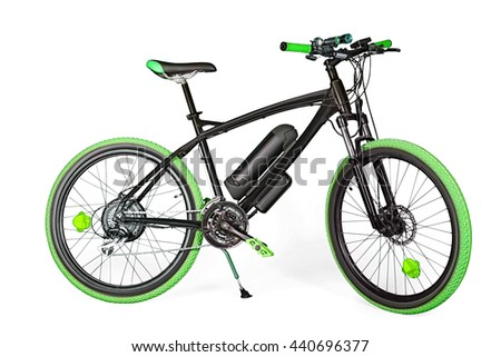 Black and green electric bike isolated on white with clipping path