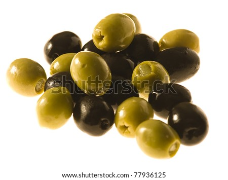 black and green olives isolated on a white background