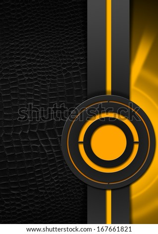 Black and Orange Abstract Background / Black and orange business background with black leather, circles and vertical band