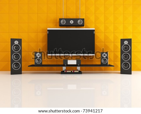 black and orange home theater with acoustic panel - rendering