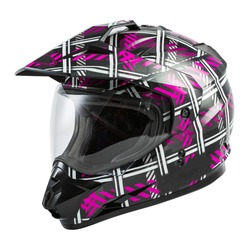 Black and Pink Motorcycle Full Face Rider Helmet Isolated on White Background. Fibreglass Scooter Helmet. Sport Touring Dual Sport Motorbike Helmet. Protective Equipment. Modern Headgear