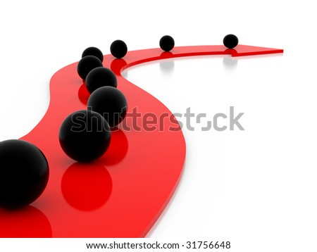 black and red arrows and spheres on a white background