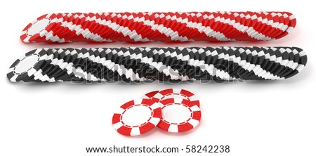 Black and red Casino or roulette chip rows over white. Extralarge res. Other leisure stuff is in my portfolio - stock photo