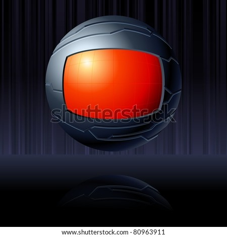 Black and red futuristic globe (jpg); vector version also available