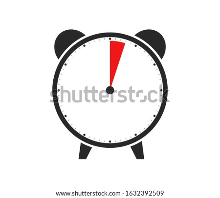 Black and red Icon of Watch or Alarm Clock showing Duration of 3 Minutes or 3 Seconds Foto stock ©