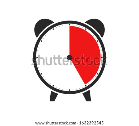 Black and red Icon of Watch or Alarm Clock showing Duration of 25 Minutes or 25 Seconds or 5 Hours Foto stock ©