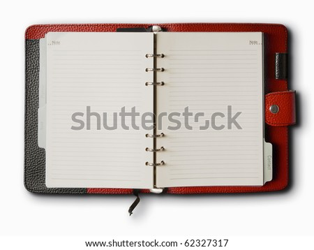 Black and red leather cover of binder notebook