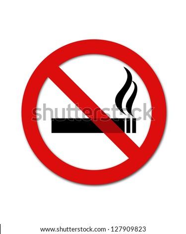 Black and red no smoking smybol - stock photo