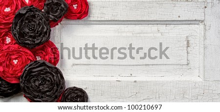 Black and Red shabby chic flowers on vintage door