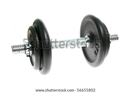 Black and silver dumbbells isolated on white background
