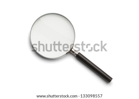 Black and Silver Magnifying Glass Isolated on a White Background.