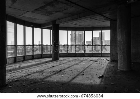 Black and white abandoned interior. Building construction  #674856034