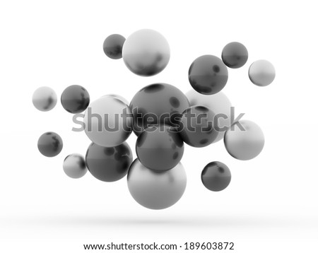 Black and white abstract sphere concept rendered isolated on white background #189603872