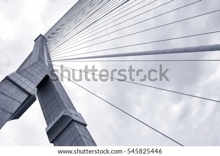 Black and white Abstract structural of bridge