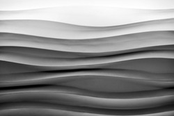 Black and white abstract wave background with linen texture