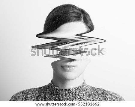 Black and White Abstract Woman Portrait Of Restlessness Concept