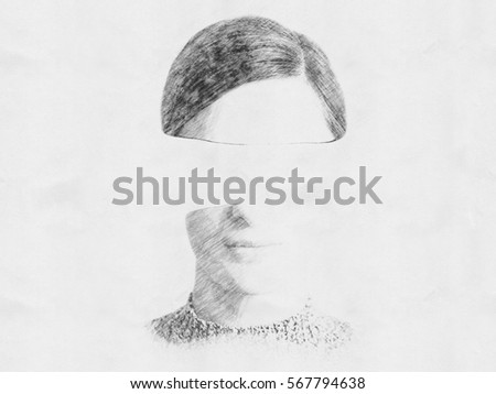 Stock Photo Black and White Abstract Woman Portrait Sketch Of Identity Theft Concept