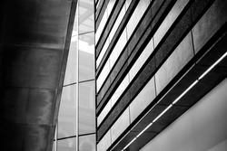 Black and white abstracts of a modern building interior