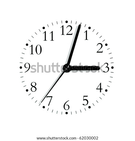 Black and white analogue clock face dial reading 3:03, isolated