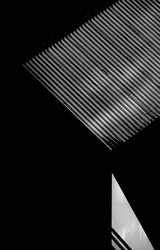 black and white and abstract image with angles and geometric shapes