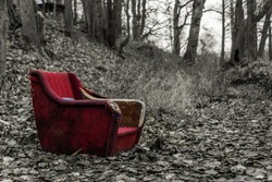 Black and White and Color Old Red Chair Along a Path in a Forest