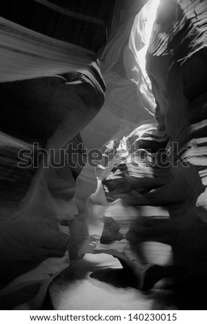 black and white Antelope canyon, Lake Powell, Page
