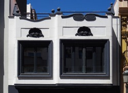Black and white Art Deco building of the 20´s. Streets of the Cabanyal Quarter. City of Valencia. Spain.