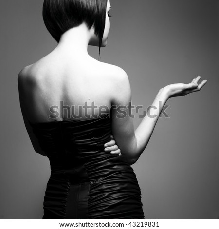 Elegant lady with stylish short hairstyle.