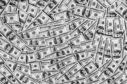 black and white art photography monochrome, background of hundred dollar bills, grayscale, money baclground